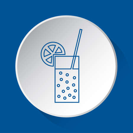glass with carbonated drink, straw and citrus - simple blue icon on white button with shadow in front of blue square background