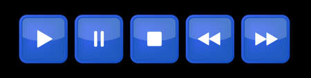 blue, white square music control buttons set - five icons with shadows in front of a black background