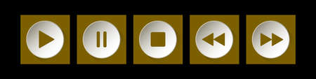 gold, white square music control buttons set - five icons with shadows in front of a black background Фото со стока - 125910403