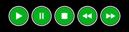 green, white round music control buttons set - five icons in front of a black background  イラスト・ベクター素材