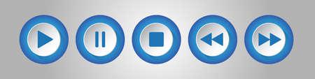 blauwe, witte ronde muziekbedieningsknoppen set - vijf pictogrammen met schaduwen voor een zilveren achtergrond