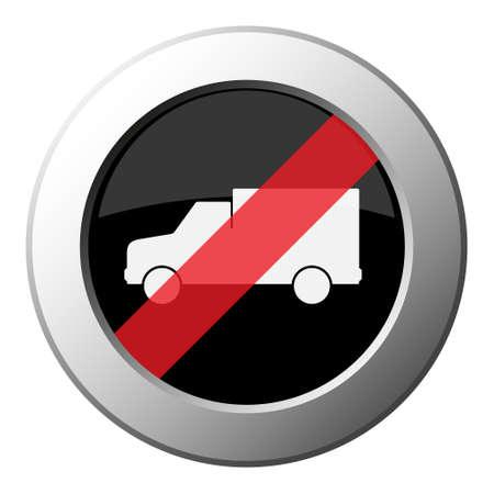lorry car - ban round metallic push button with white icon on black and diagonal red stripe  イラスト・ベクター素材
