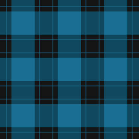seamless pattern - black, dark and bright blue tartan, tablecloth with blue stripes Vettoriali