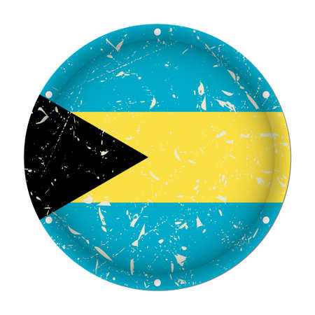 Bahamas - round metallic scratched flag with six screw holes in front of a white background Фото со стока - 125799638