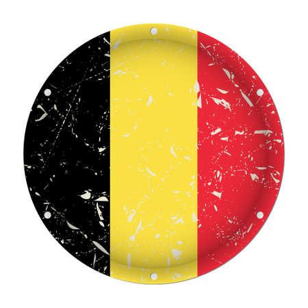 Belgium - round metallic scratched flag with six screw holes in front of a white background  イラスト・ベクター素材