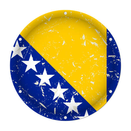 Bosnia and Herzegovina - round metallic scratched flag with six screw holes in front of a white background Фото со стока - 125799640
