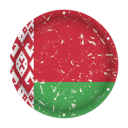 Belarus - round metallic scratched flag with six screw holes in front of a white background  イラスト・ベクター素材