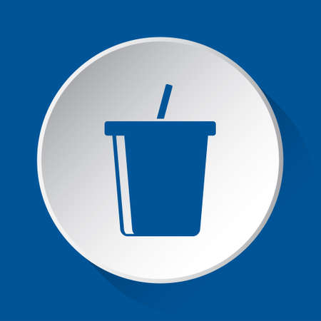 fast food cold drink with straw - simple blue icon on white button with shadow in front of blue square background
