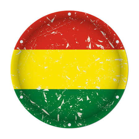 Bolivia - round metallic scratched flag with six screw holes in front of a white background Фото со стока - 125799647