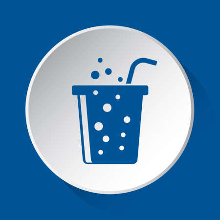 fast food carbonated drink with straw - simple blue icon on white button with shadow in front of blue square background