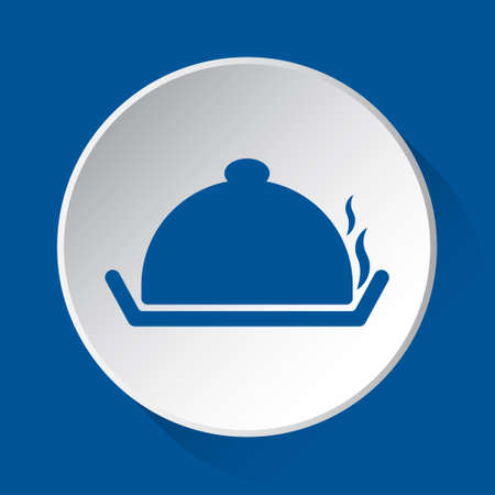 serving tray with lid and smoke - simple blue icon on white button with shadow in front of blue square background Фото со стока - 125799649