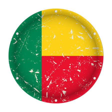 Benin - round metallic scratched flag with six screw holes in front of a white background  イラスト・ベクター素材
