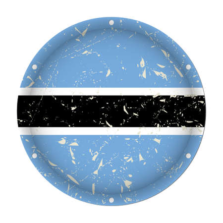 Botswana - round metallic scratched flag with six screw holes in front of a white background