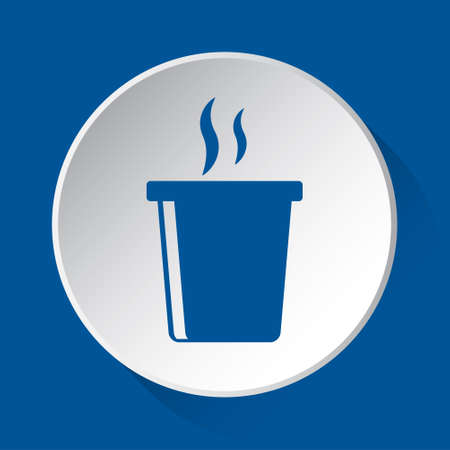 fast food hot drink with smoke - simple blue icon on white button with shadow in front of blue square background Фото со стока - 125799654