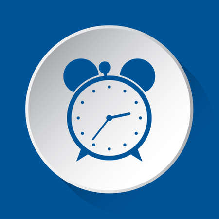 alarm clock - simple blue icon on white button with shadow in front of blue square background Фото со стока - 125799655