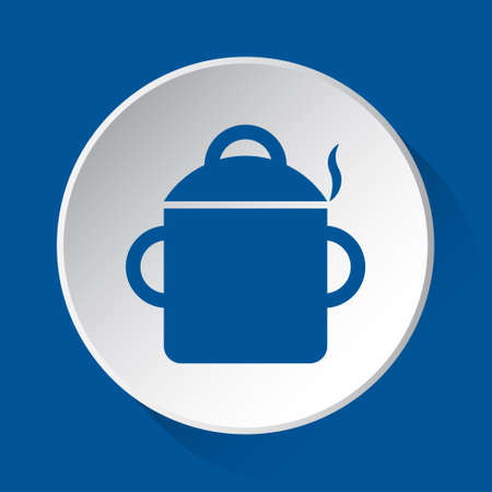 cooking pot with smoke - simple blue icon on white button with shadow in front of blue square background Фото со стока - 125799656