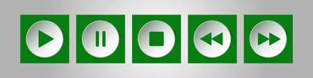 green, white square music control buttons set - five icons with shadows in front of a silver background  イラスト・ベクター素材