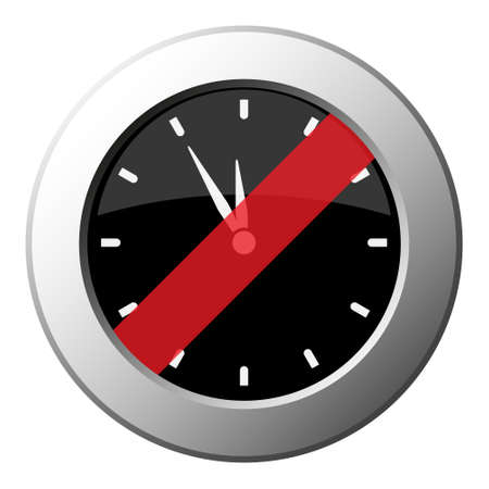 last minute clock - ban round metallic push button with white icon on black and diagonal red stripe Фото со стока - 125799664