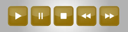 gold, white square music control buttons set - five icons with shadows in front of a silver background