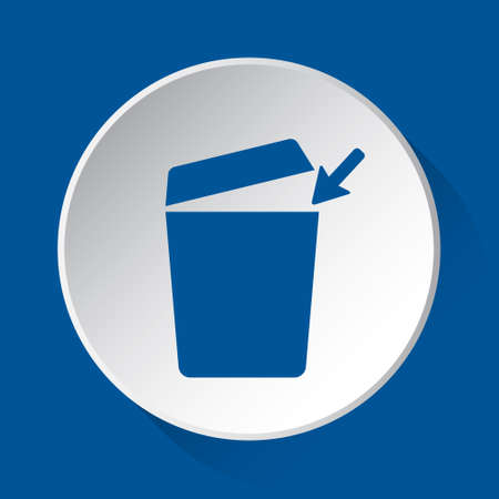 trashcan with open lid and arrow - simple blue icon on white button with shadow in front of blue square background Фото со стока - 125799670