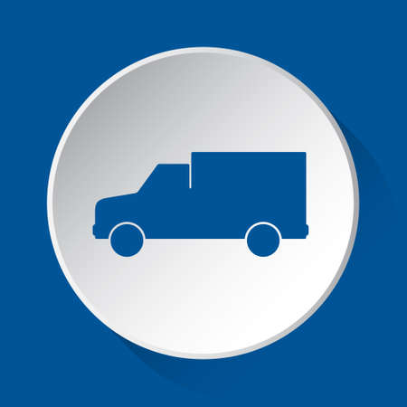 van car - simple blue icon on white button with shadow in front of blue square background Фото со стока - 125799671
