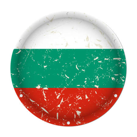 Bulgaria - round metallic scratched flag with six screw holes in front of a white background