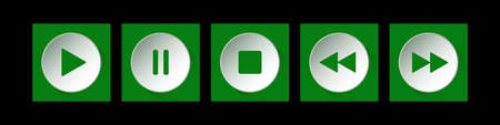 green, white square music control buttons set - five icons with shadows in front of a black background Иллюстрация