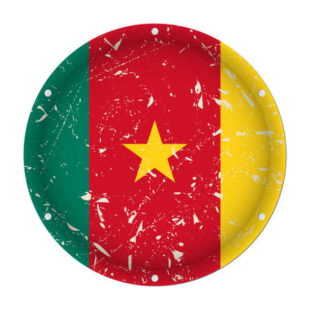 Cameroon - round metallic scratched flag with six screw holes in front of a white background Иллюстрация