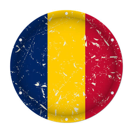 Chad - round metallic scratched flag with six screw holes in front of a white background