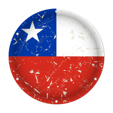 Chile - round metallic scratched flag with six screw holes in front of a white background