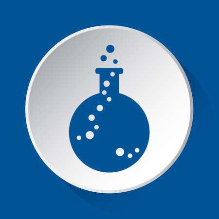 laboratory flask with bubbles - simple blue icon on white button with shadow in front of blue square background