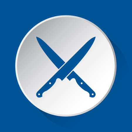 two crossed kitchen knives - simple blue icon on white button with shadow in front of blue square background