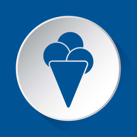 ice cream with three scoops - simple blue icon on white button with shadow in front of blue square background