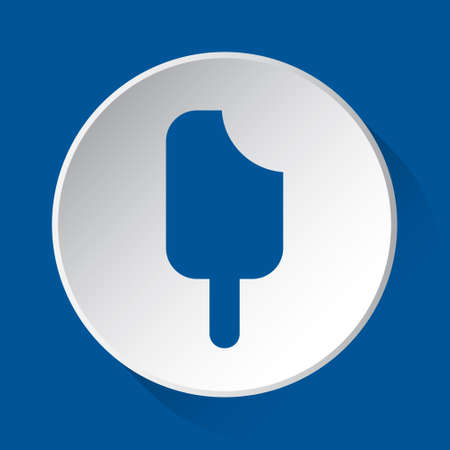 stick ice cream - simple blue icon on white button with shadow in front of blue square background