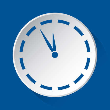 last minute clock - simple blue icon on white button with shadow in front of blue square background  イラスト・ベクター素材