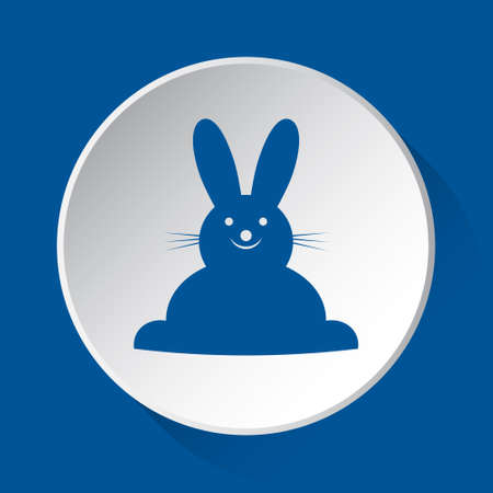 happy smiling rabbit, front view - simple blue icon on white button with shadow in front of blue square background Иллюстрация