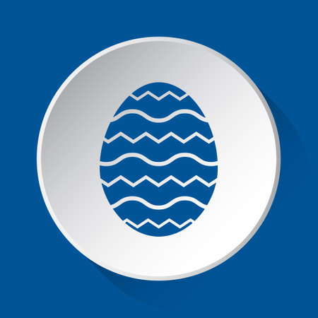 Easter egg with waves - simple blue icon on white button with shadow in front of blue square background