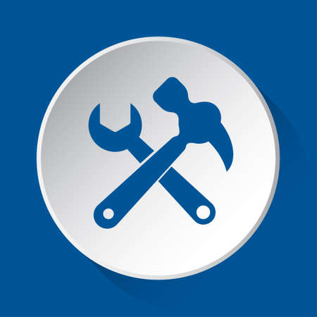 claw hammer with spanner - simple blue icon on white button with shadow in front of blue square background Иллюстрация