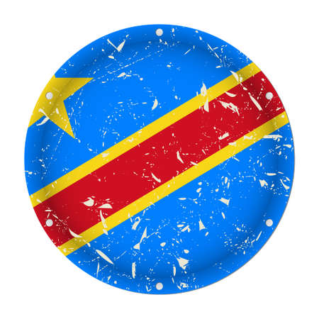 Democratic Republic of the Congo - round metallic scratched flag with six screw holes in front of a white background