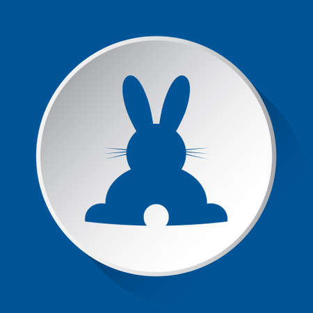 happy rabbit, rear view - simple blue icon on white button with shadow in front of blue square background