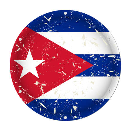 Cuba - round metallic scratched flag with six screw holes in front of a white background