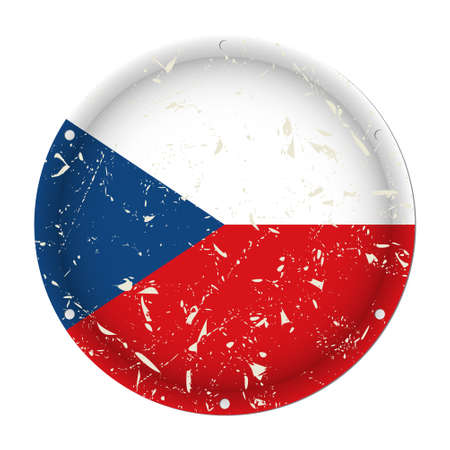 Czech Republic - round metallic scratched flag with six screw holes in front of a white background