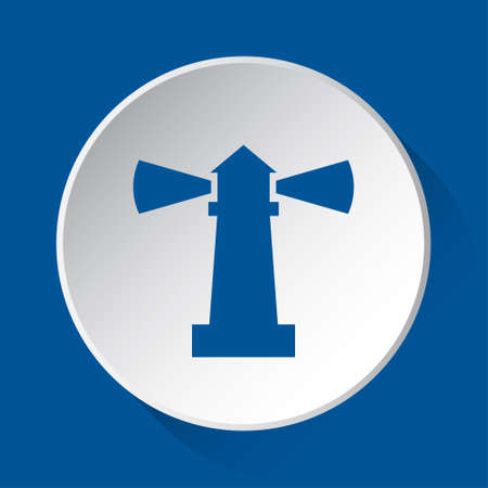 lighthouse - simple blue icon on white button with shadow in front of blue square background