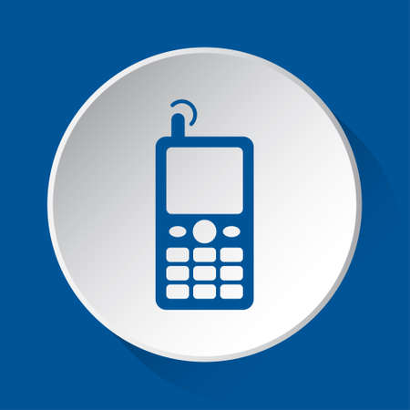 old mobile phone with antenna and signal - simple blue icon on white button with shadow in front of blue square background