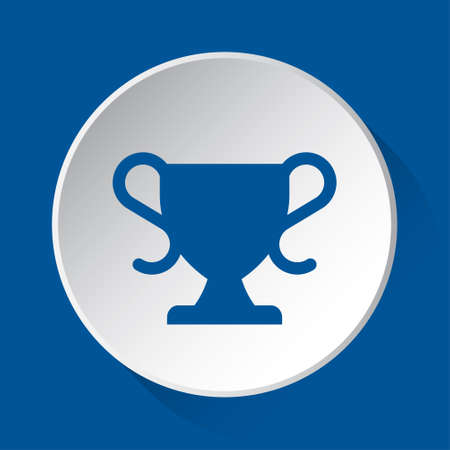 sports cup - simple blue icon on white button with shadow in front of blue square background