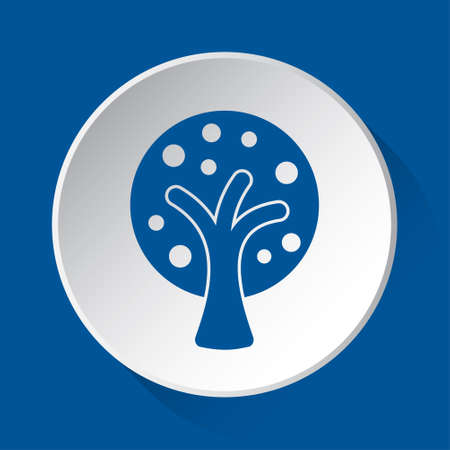 stylized tree with branches and fruits - simple blue icon on white button with shadow in front of blue square background Illusztráció
