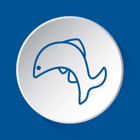jumping fish, dolphin - simple blue icon on white button with shadow in front of blue square background