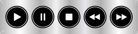 black, white round music control buttons set - five buttons on a sheet metal plate with rounded corners with screws