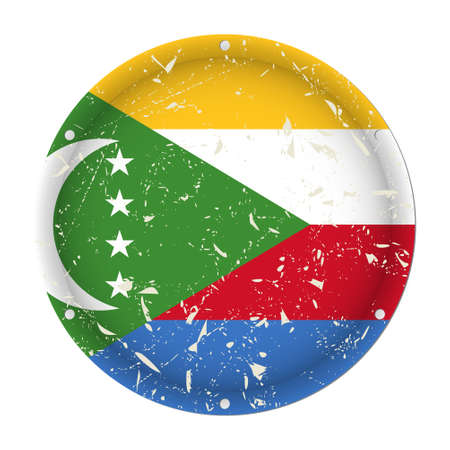 Comoros - round metallic scratched flag with six screw holes in front of a white background Иллюстрация