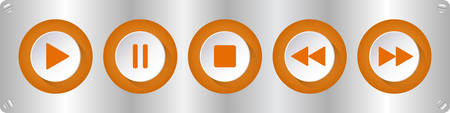 orange, white round music control buttons set - five buttons on a sheet metal plate with rounded corners with screws